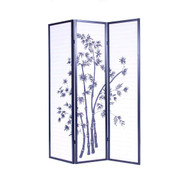 3-Panel Asian Shoji Screen Room Divider with Bamboo Print RSCB4827461