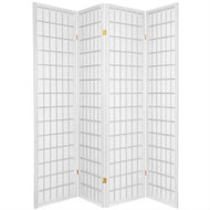 4-Panel Room Divider Oriental Shoji Privacy Screen in White W4PRD726951
