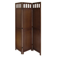 3-Panel Wooden Folding Room Divider Screen in Walnut Finish WFS782946