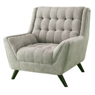 Grey Upholstered Chenille Mid-Century Tufted Padded Arm Chair MGAC968412