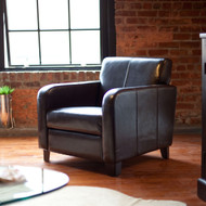 Dark Brown Leather Upholstered Club Chair with Wood Frame and Legs MLCB581981