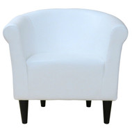 Modern Classic White Faux Leather Upholstered Club Chair - Made in USA CWFLC5198484