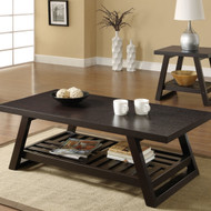 Contemporary Coffee Table with Slatted Bottom Shelf in Rich Brown WHCT13937