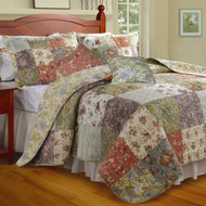 King size 100% Cotton Floral Quilt Set with 2 Shams and 2 Pillows GHKQS971