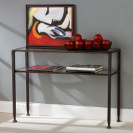 Black Metal Console Sofa Table with Glass Top and Shelves BMST126841