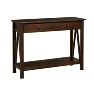 2-Drawer Console Sofa Table Living Room Storage Shelf in Tobacco Brown LHDC109543
