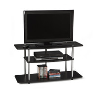 3-Tier Flat Screen TV Stand in Black Wood Grain / Stainless Steel CD2G3TWG5497