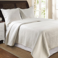 Full/Queen 100% Cotton Quilt Set in Ivory with Diamond Pattern GVQFQ75015