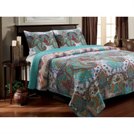 King size 100% Cotton Quilt Set in Teal Paisley Pattern - Preshrunk KNQS5698415