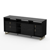 Contemporary TV Stand in Black Finish and Satin Nickel Metal Legs SUC7TV23891