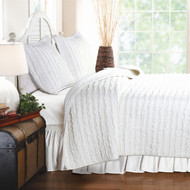 Full 3-Piece Quilt Set 100% Cotton White Ruffled Stripes Reversible FGR82371