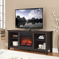 Espresso Wood TV Stand with Electric Fireplace Heater Insert GBTVS5198155