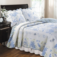 Full/Queen 100% Cotton Quilt Set in Blue Coral Sea Shells Starfish FQCB7288