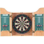Sisal Dartboard with Oak Finish Cabinet Darts and Chalkboard DMIDOC72