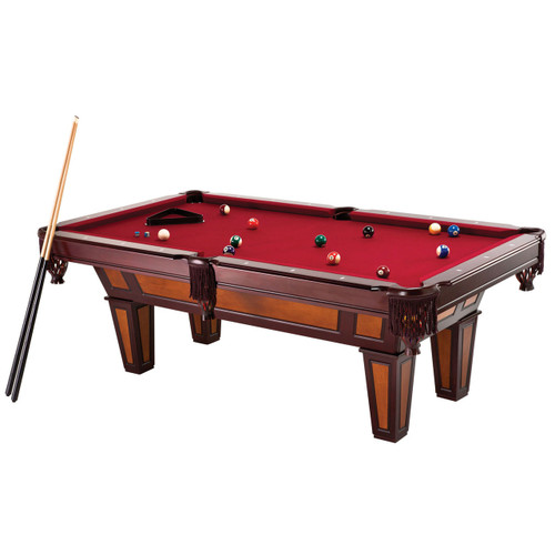 7 Ft Pool Table with Red Burgundy Wool Top and Fringe Drop Pockets FC7FTR1067