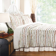 Full/Queen 100% Cotton Quilt Set Ruffled Multi-color Stripes GQS83791