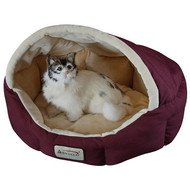 18-inch Burgundy & Beige Small Dog & Cat Bed by Armarkat A18BPB