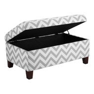 Grey & White Chevron Stripe Padded Storage Ottoman Bench DACSO9951