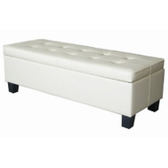 Cream Off-White Faux Leather Tufted Top Storage Bench Ottoman OWSB117951