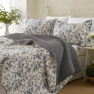 Twin size 2-Piece Quilt Set with Coverlet & Sham in Gray White Floral Pattern AQSL4938541