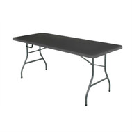 Black 6-Ft Centerfold Folding Table with Weather Resistant Top CPBC66419