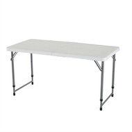 Adjustable Height White HDPE Plastic Folding Table w/Powder Coated Steel Frame L4FT469012