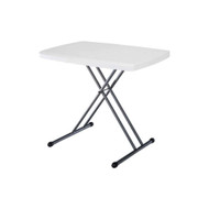 Adjustable Height White Plastic Top Folding Table with Sturdy Steel Metal Legs LPTW40513