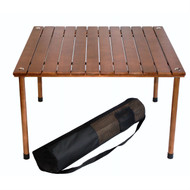Outdoor Portable Folding Table with Carry Bag with Solid Wood Top TBF449531