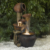 Clay Pot Style Indoor and Outdoor Fiberglass Illuminated Fountain CPOFL19678
