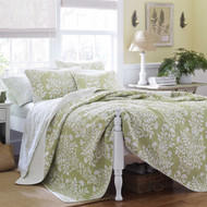 King size 100% Cotton 3 Piece Quilt Set in Sage Green White Floral Pattern KQSC11681