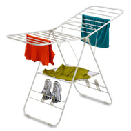 Heavy Duty Metal Folding Laundry Drying Rack with Shoe Holders in White HCDHDG2947