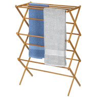 Folding Laundry Clothes Drying Rack in Bamboo Wood BFDR358169