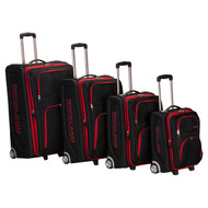Rockland 4PC EVA LUGGAGE SET, BLACK with Red Trim FL139BR