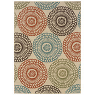 7'10-inch x 10'10-inch Indoor/Outdoor Beige Area Rug w/Colorful Circle Pattern MWIBOR710249