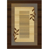 Royalty Collection Brown/Blue Modern Area Rug with Vine Leaves Design HDRAR5272BB