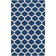 3'6-inch x 5'6-inch Blue White Trellis Area Rug in Premium Woven Wool Handmade FGHCI98756515