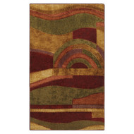 8' x 10' Abstract Area Rug with Red Wine Green and Yellow Colors KJDI159363