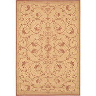 2' x 3'9 Floret Vines Leaves Floral Area Rug in Terracotta Natural CRAR14513