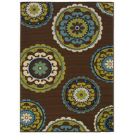 7'10 x 10'10 Outdoor/Indoor Area Rug in Brown Teal, Green Yellow Circles CBG226541