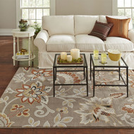 5'2-inch x 7'2-inch Tufted Cotton Rug Neutral Beige Yellow Orange Floral Pattern FISE51981561