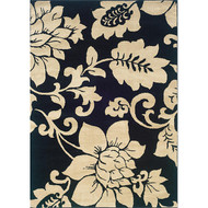 Black / Ivory Floral Design Indoor Area Rug (5' x 7'3) IBIFAR573