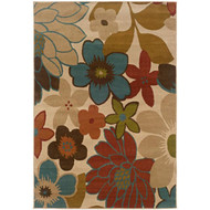 Ivory Multicolored Floral Design Area Rug (5' x 7'6) IFR5FTX76