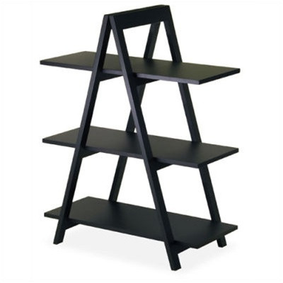 Modern 3-Tier A-Frame Display Shelf Bookcase in Black WI20130