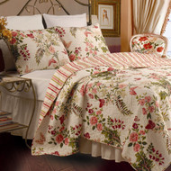 Twin size 100% Cotton Quilt Set with Sham in Pink Floral Butterfly TBQ4871