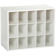15-Cubby Stackable Shoe Rack Organizer Shelves in White Wood Finish CSOW478531