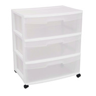 Mobile 3-Drawer Storage Cart Wardrobe Home Storage Cabinet in Clear White SWC495153