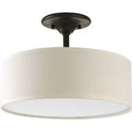 PLCAB568148 Antique Bronze Semi-Flush Mount Ceiling Light w/ Round Drum Shade