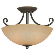 Ceiling Light Fixture 14.5 x 10-inch Classic Bronze with Amber Glass HCLB36015