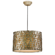 Modern 3-Light Drum Ceiling Pendant Light in Champagne Satin Metal Finish UADP2973351