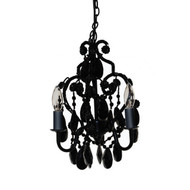 Three Light Bulb Faux Crystal Chandelier in Black Onyx 3BCBO4401
